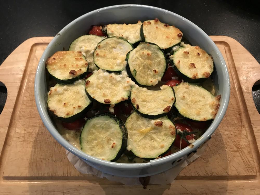 Zalm, groente quiche